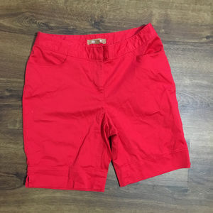 Eileen Tracy Flat Front Red Chino Shorts Size 4